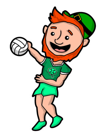 A Leprechaun Spiking a Volleyball vector illustration