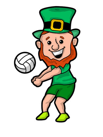 A Leprechaun Bumping a Volleyball vector illustration 일러스트