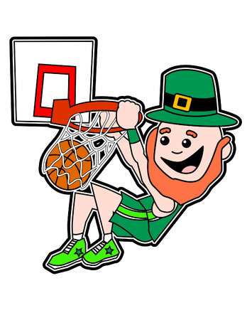 A Cartoon Leprechaun Dunking vector illustration