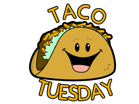 Ilustración de vector de Taco Tuesday Cartoon Sign
