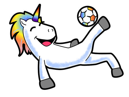 A Cartoon of a Unicorn Kicking a Soccer Ball