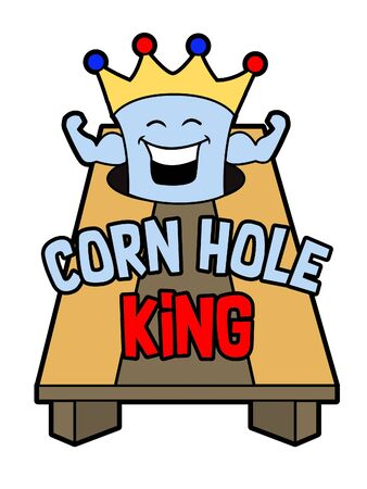 A cartoon logo of a corn hole bag wearing a crown