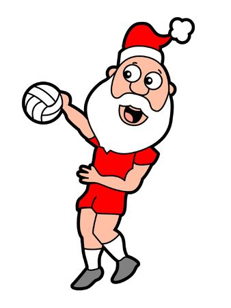Santa Volleyball Spike Иллюстрация