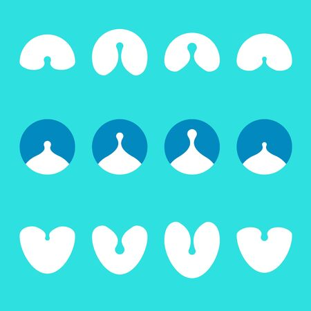 Design logo element  Abstract milk, water drops,throat vector icon template set