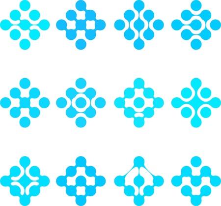 Abstract water molecule vector logo template set