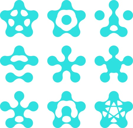 Abstract water molecule vector template set  Computer science and engineering concept icons