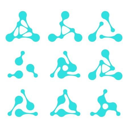 Abstract molecule vector template set Illustration