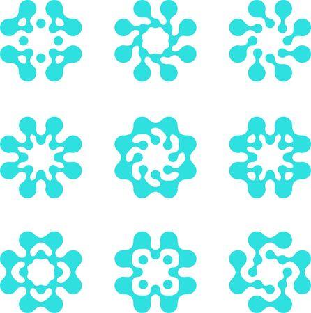 molecula de agua: Resumen de agua mol�cula vector conjunto de plantillas