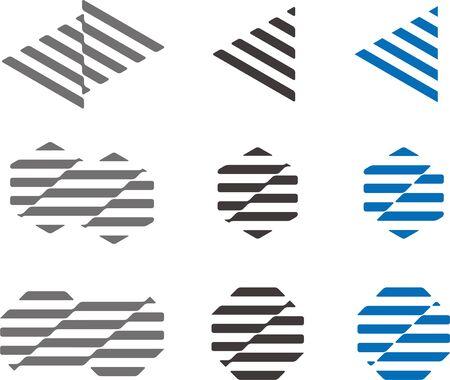 octogonal: Agitando estructura franja de tri�ngulo, hexagonal, octogonal conjunto de iconos Modern Vectores