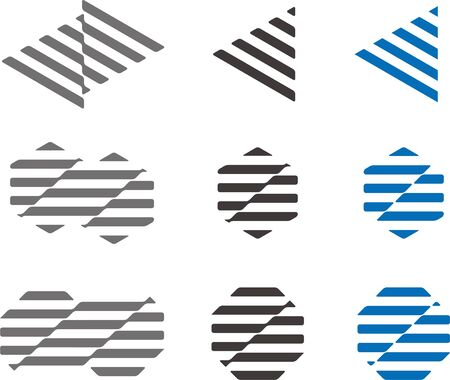 strip structure: Waving strip structure by triangle, hexagonal, octagonal  Modern icon set