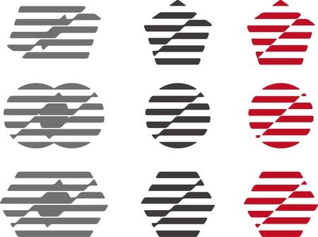 Waving strip structure by circle, pentagonal, hexagonal  Modern icon set