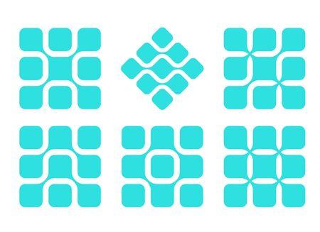 molecula de agua: Elemento de diseño abstracto molécula de agua vector logo cuadrado plantilla de conjunto de la informática y la ingeniería iconos concepto Vectores