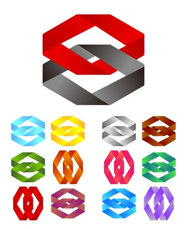 Design logo element  Infinite cross ribbon design icon template  Abstract loop mark sets  You can use in the team concept