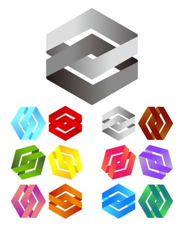 convergence: Design logo element  Infinite cross ribbon design icon template