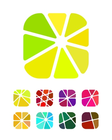 Design logo element  Crushing abstract round rectangle pattern  Colorful precious stone icons set   Illustration