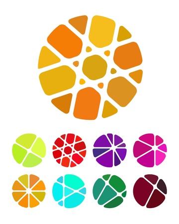 piedras preciosas: Elemento de dise�o logotipo redondo de trituraci�n abstractos c�rculo patr�n de colores de piedras preciosas iconos establecido Vectores