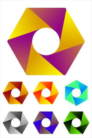 convergence: Design hexagonal logo element  Infinite cross ribbon icon template  You can use the design in the screw mechanical or camera shutter