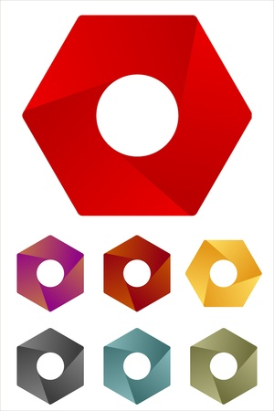 convergence: Design hexagonal logo element  Infinite cross ribbon vector icon template You can use on the screw mechanical or design of three-dimensional illusion   Illustration