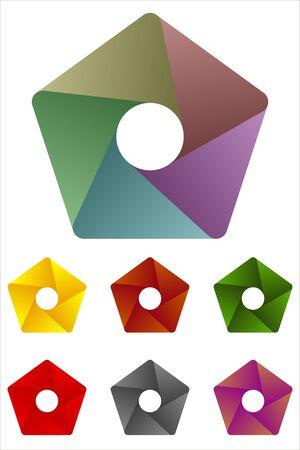 Design pentagonal logo element  Infinite cross ribbon design icon template   Illustration