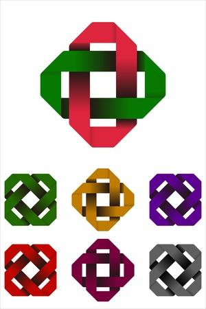 convergence: Design rectangle logo element  Infinite cross ribbon icon template
