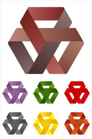 Design triangles logo element  Infinite cross ribbon vector icon template