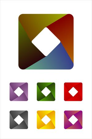 Design rectangle logo element  Infinite cross ribbon vector icon template