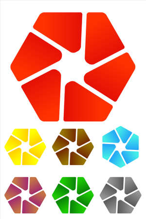 Design hexagonal logo element  Vector icon template set  You can use the design in the screw mechanical or camera shutter   Illustration