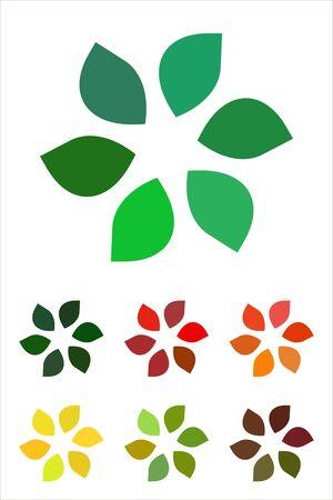 Design leaves logo element  Infinite cross ribbon vector icon template