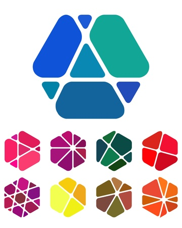 Design logo element  Crushing abstract hexagon pattern  Colorful precious stone icons set   Illustration