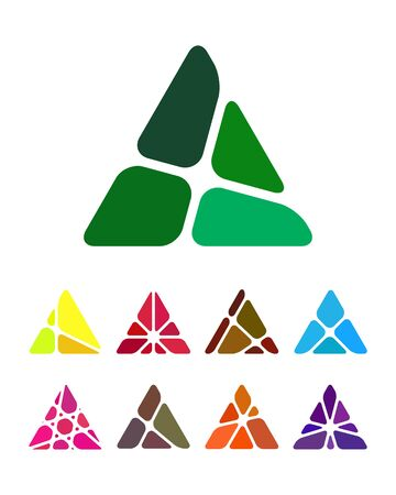 Design logo element  Crushing abstract triangle pattern  Colorful precious stone icons set   Illustration
