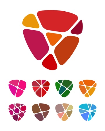 shield logo: Design shield or heart logo element  Colorful abstract pattern, icon set  You can use in the jewelry shop, leisure club, and other commercial image   Illustration