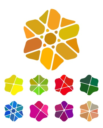 Design flower logo element  Colorful abstract pattern, icon set  You can use in the flower shop, jewelry, farm, leisure club, and other commercial image   Stock Vector - 18681927