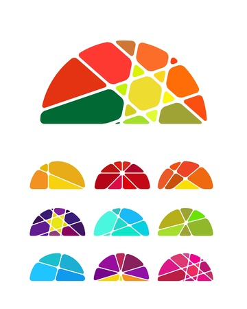 Design semicircular logo element  Colorful abstract pattern, icon set  You can use in the environmental protection, resource recovery, farm, club, leisure club, sky, and other commercial image Stock Vector - 18681906