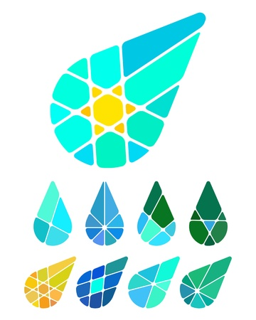 Design vector drop logo element  Colorful abstract pattern, icon set  You can use in the environmental protection, resource recovery, farm, water, and other commercial image   Illustration