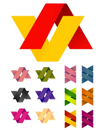 v shape: Design vector Infinite cross ribbon logo template  Colorful abstract pattern,icon set  You can use in the mobile, finance,biology, chemistry, science and other commercial image