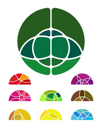 Design abstract round logo element  Crushing semicircular pattern  Colorful semicircular icons set  Vector