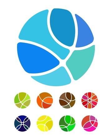 sports form: Disegno astratto logo elemento tondo Frantumazione rotonde modello colorato icone set ball