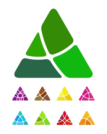 Design abstract triangle logo element  Crushing triangle pattern  Colorful triangle icons set  Vector