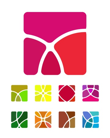 set square: Design abstract square logo element  Crushing round rectangle pattern  Colorful square icons set  Illustration