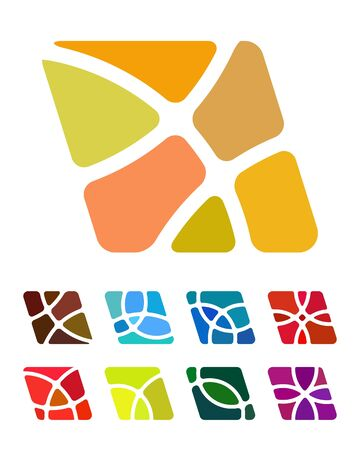 Design abstract square logo element  Crushing vector round rectangle pattern  Colorful square icons set  Illustration