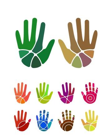 디자인 손 로고 요소 다채로운 추상적 인 패턴, 아이콘 설정 당신은 환경 보호, 자원 회수, 농장, 자선 단체 및 기타 상업 이미지에 사용할 수있는
