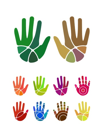 logo element: Design hand logo element  Colorful abstract pattern, icon set  You can use in the environmental protection, resource recovery, farm, charitable organizations, and other commercial image  Illustration