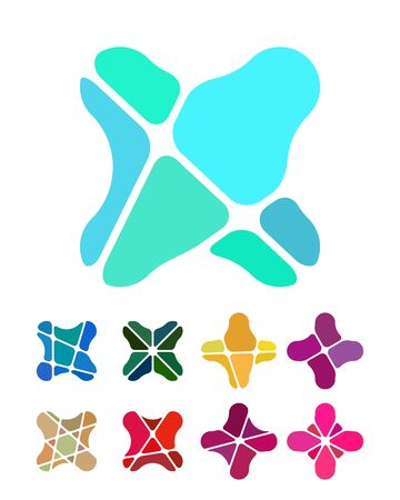 Design flower logo element  Colorful abstract pattern, icon set  You can use in the flower shop, jewelry, leisure club, and other commercial image  Vector