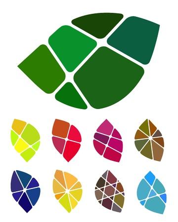디자인 잎 로고 요소 다채로운 추상적 인 패턴, 아이콘 세트 일러스트