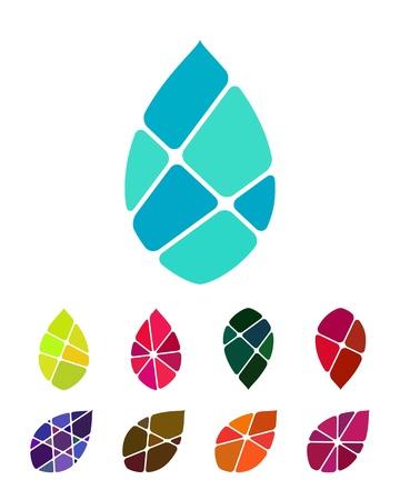 디자인 로고 벡터 방울 물이나 잎 요소 다채로운 추상적 인 패턴, 아이콘 설정 당신은 환경 보호, 자원 회수, 물 및 다른 상업적인 이미지에서 사용할  일러스트