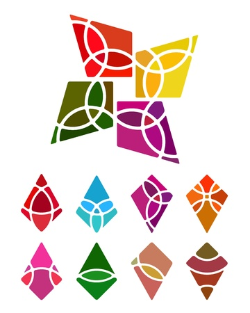 kite: Design logo abstract diamond-shaped element  Crushing vector kite pattern  Colorful icons set  Illustration
