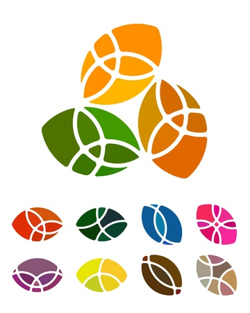 Design logo abstract round element  Crushing vector round pattern  Colorful icons set  Vector