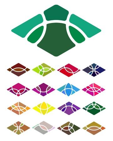 Design logo abstract diamond-shaped element  Crushing vector rectangular pattern  Colorful icons set  Illustration