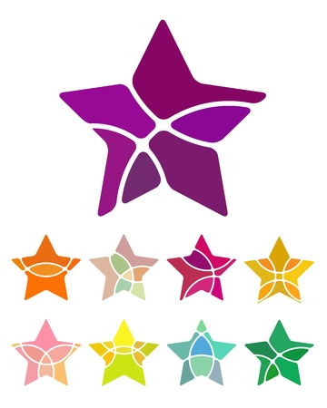 meteors: Design star element  Abstract star logo vector template set  You can use in singing contest, public interest groups, games, and computer science concept icons