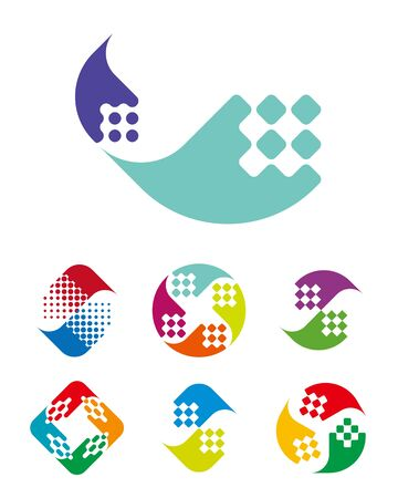 logo: Design wave logo element  Abstract vector template set  You can use in energy, public interest groups, water and Non-governmental organization, computer science concept icons  Illustration